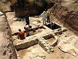 Hellenistic basins and workshop during excavation in 2004